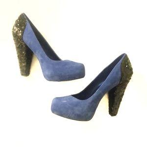 Bcbg Max Suede Sequin Shoes Block Heela NEW 8.5